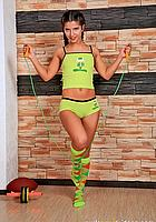 brunette with skipping rope