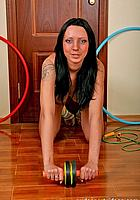 nude sports with exercise wheel