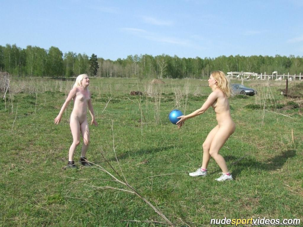 Girls Irishka And Kristina Play The Naked Volleyball Outdoors