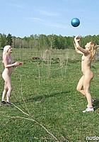 nude girls + ball