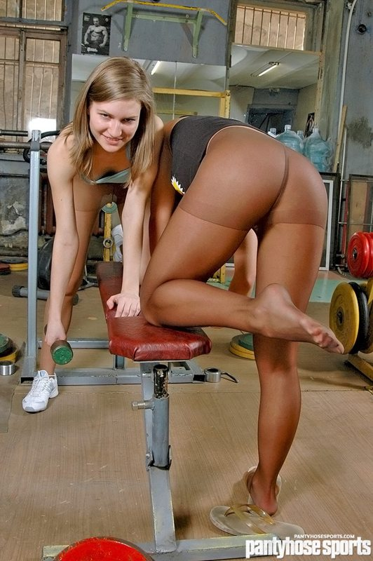 Women stretching out in pantyhose