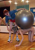 naked trainee and fitness ball