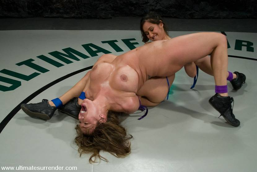 Nude female bloody fight