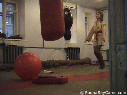 Voyeur gym camera caught jumping rope routine