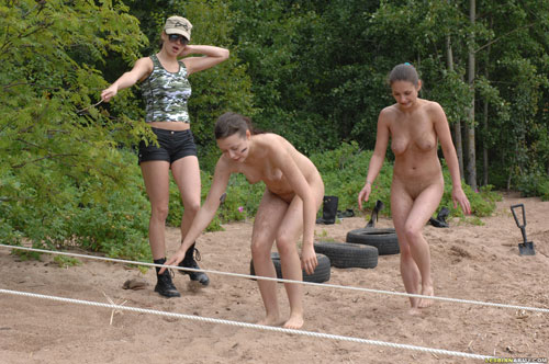 The lesbian sergeant also gives instructions to the nude army girls, ...