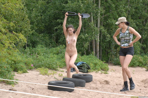 Naked teen army babe in steeplechase