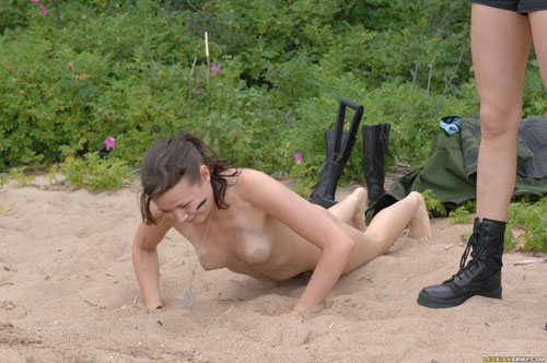 Outdoor nude military pushups