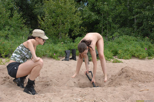 Military digging done by a teen army girl