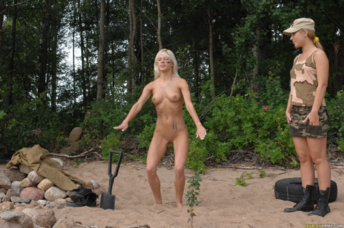 Outdoor nude squats by a military girl