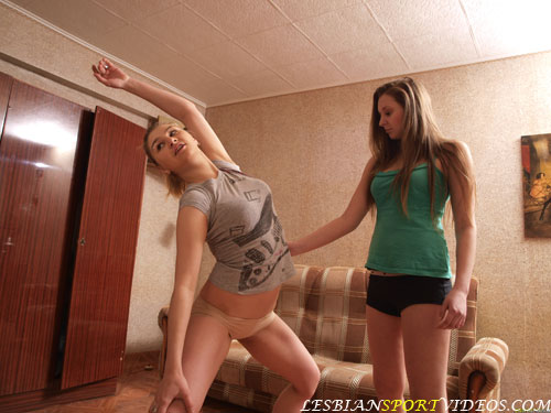 Teen gymnast exercised by a lesbian trainer
