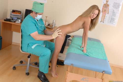 Young ass of a blondie examined by a male doctor