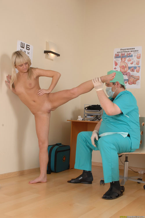 Nude flexibility test at a medical exam