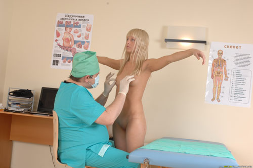 Nasty nipple pulling at a naked medical exam