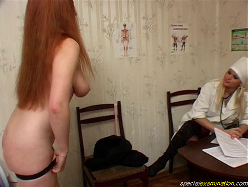 Female examinee strips for a medical exam