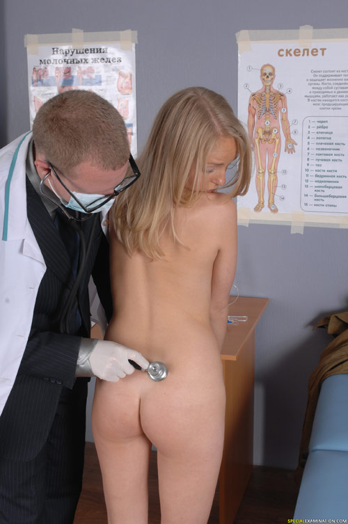Kinky medical exam of a blonde naked girl