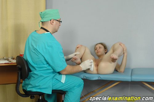 Obedient girl ready for a medical fetish gyno exam